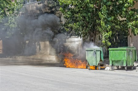 Wheeled Waste container, set on fire.