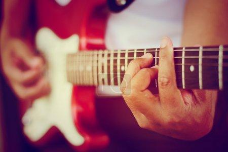 Guitarist plays