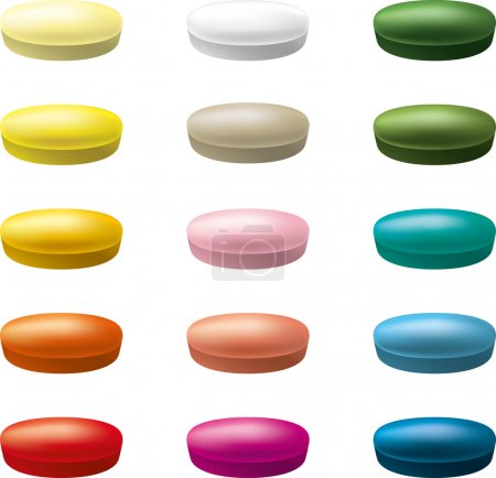 Multicolored pills tablets