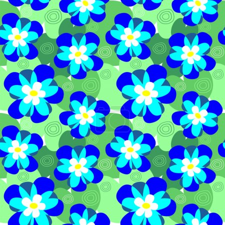 Vector seamless flower pattern of water-lilies. Background of marsh flowers.