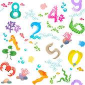 Numbers like sea inhabitants seamless pattern