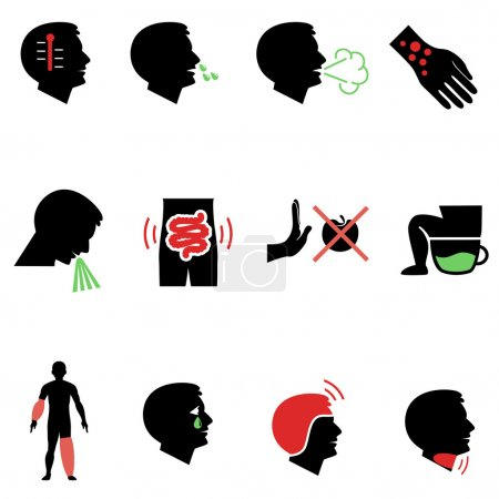 Symptoms of allergy and other diseases as flat icons