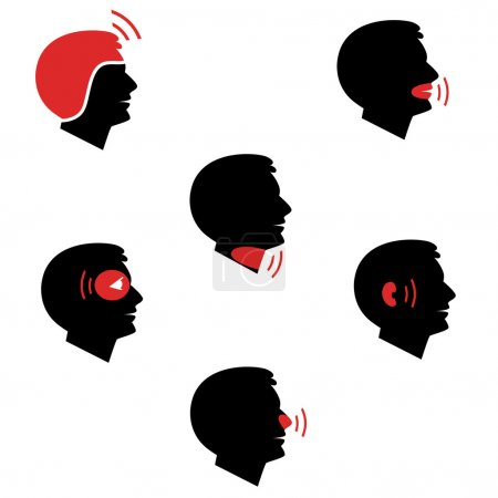Head and facial pain as flat icons