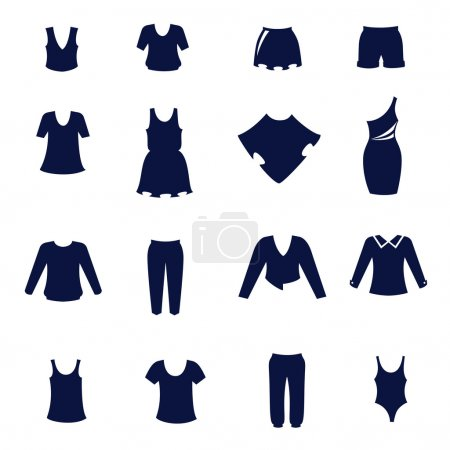 Different types of women's clothing as flat icons