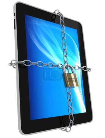 "Photo for 3d render of a tablet with chains and a padlock, branded ""mobile device management"", isolated on a white background - Royalty Free Image"