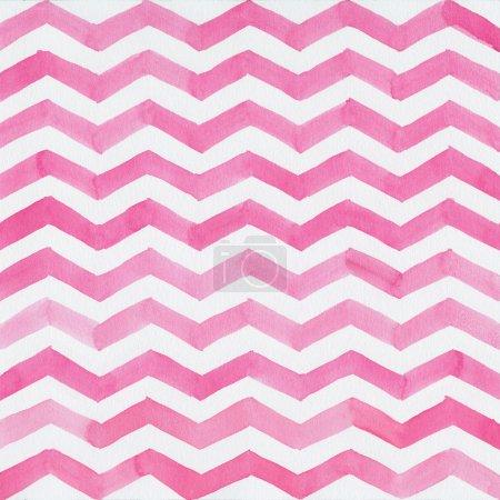 Aquarelle fond avec des rayures zigzag rose