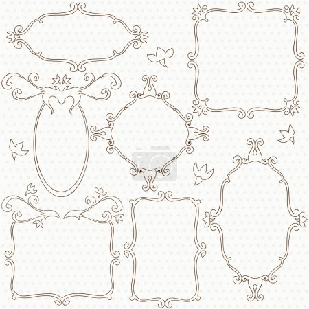 Artistic frame collection with simple flowers