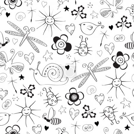 Illustration pour Modèle sans couture avec des articles d'été simples - image libre de droit