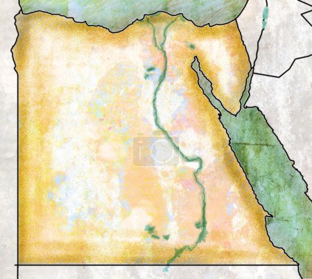 Map of Egypt, antique effect, parchment