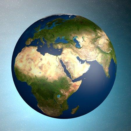 Photo pour Vue du monde depuis l'espace. Moyen-Orient - image libre de droit