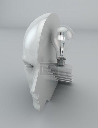 Photo pour Idée pensée esprit philosophie bulbe tête - image libre de droit