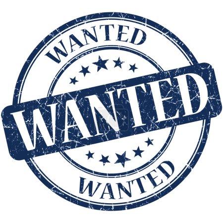 Wanted grunge round blue stamp
