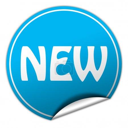 new round blue sticker on white background