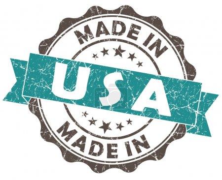 Photo pour Fabriquée aux Etats-Unis seal grunge turquoise isolé sur fond blanc - image libre de droit
