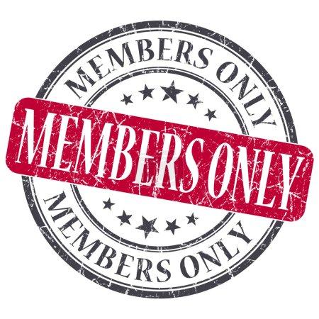 Photo pour Grunge membres seulement rouge rond timbre sur fond blanc - image libre de droit