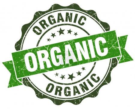 Organic green grunge retro style isolated seal