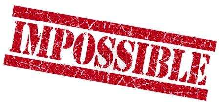 Photo pour Impossible grunge carré rouge texturé timbre isolé sur blanc - image libre de droit