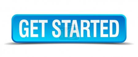 Illustration pour Démarrer bleu 3d réaliste carré isolé bouton - image libre de droit