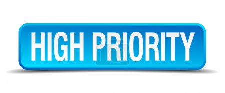 high priority blue 3d realistic square isolated button