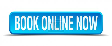 Illustration for Book online now blue 3d realistic square isolated button - Royalty Free Image