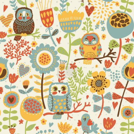 Floral seamless pattern with owl and bird