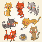 Funny cartoon cats in vector