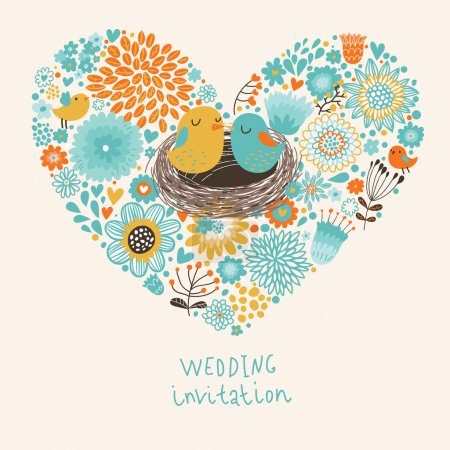 Vector wedding invitation with heart, flowers and birds