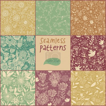Cartoon seamless pattern. Vector set. Vintage flowers and birds