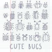 Cute bugs Cartoon vector set
