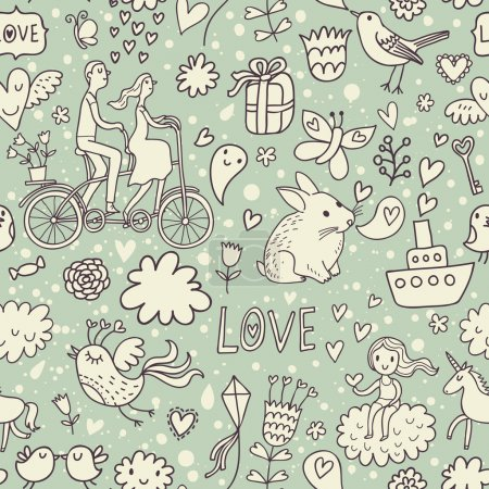 Illustration for Romantic vintage seamless pattern. Cute cartoon illustration in vector. Rabbits, couple of lovers, presents, birds and others - Royalty Free Image