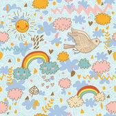 Funny cartoon seamless pattern Weather concept with clouds birds rainbows and sun