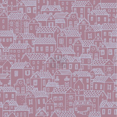 Illustration for Hand-drawn seamless pattern with cute town. Vector texture with small houses - Royalty Free Image