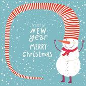 Cartoon concept winter background Cute snowman in vector