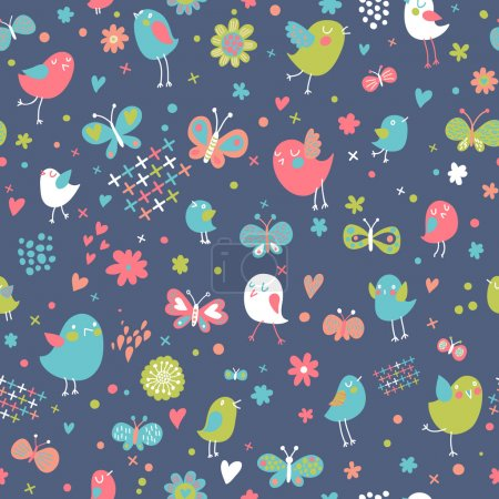 Birds and butterflies. Funny cartoon seamless pattern in cool colors