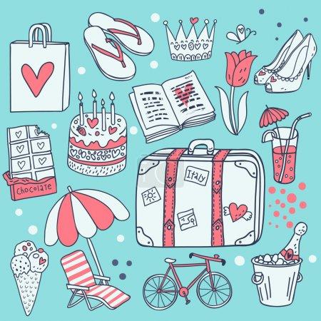 I love traveling! Cartoon vector set