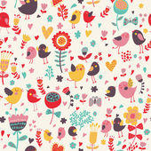 Bright floral cartoon seamless pattern in nice colors Cute birds in flowers