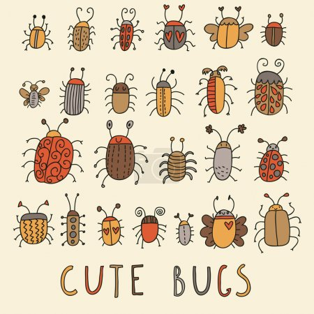 Cute bugs vector set in retro style