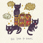Travel concept Cute cats and suitcase in vector