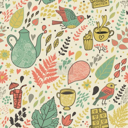 Tea and coffee drinking concept background. Vintage floral seamless pattern.
