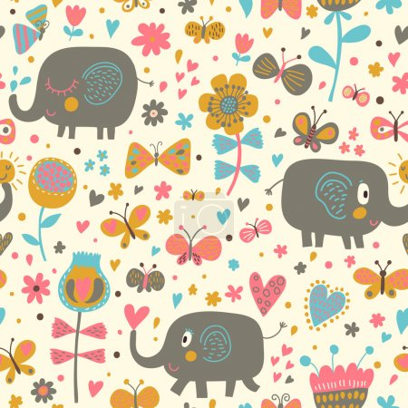 Cartoon seamless pattern for children's wallpapers. Cute elephants in flowers and butterflies