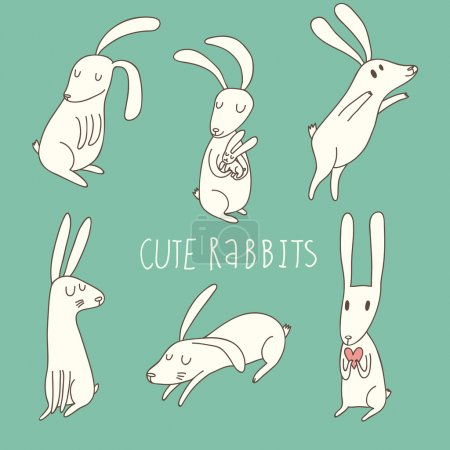 Illustration for Cute playing rabbits in cartoon style - Royalty Free Image