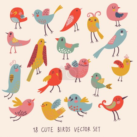 Illustration for Cute birds in vector. Cartoon set - Royalty Free Image