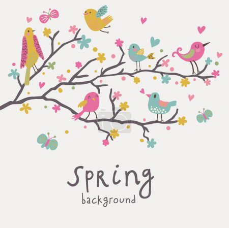 Illustration for Spring background. Stylish illustration in vector. Cute birds on branches. Light romantic card. Can be used for wedding invitation. - Royalty Free Image