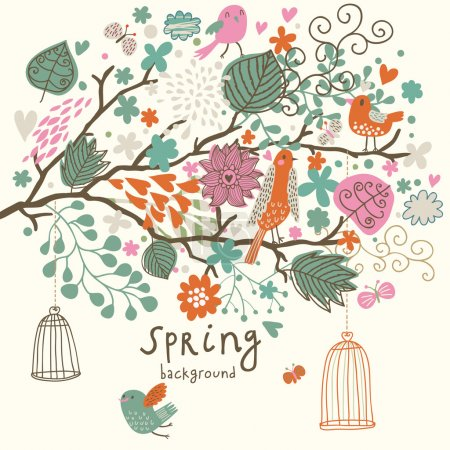 Birds on the tree ni flowers out of cages. Spring concept background in vector. Floral composition can be used ans wedding invitation