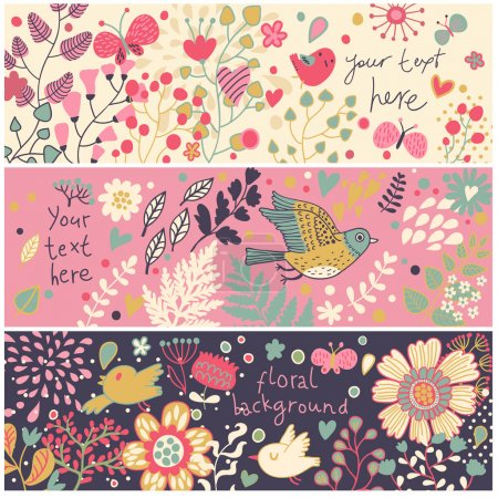 Bright floral banners in vector. Birds and butterflies in flowers. Summer concept cards