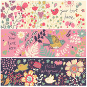 Bright floral banners in vector Birds and butterflies in flowers Summer concept cards