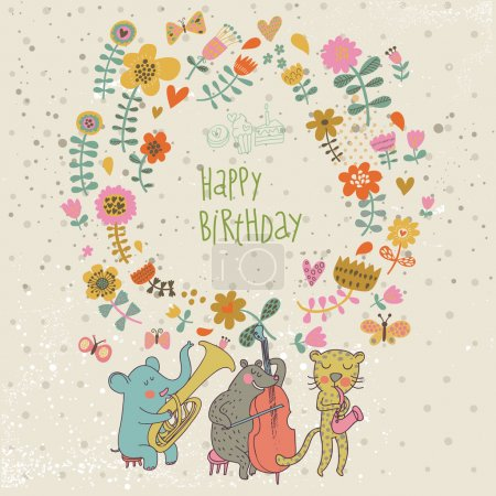Happy birthday card. Cartoon funny animals elephant, bear and leopard wishes happy birthday. Vector illustration