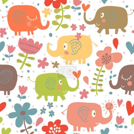 Cartoon funny childish elephants in flowers. Cute seamless pattern for nice backgrounds
