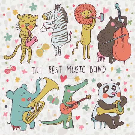 Animals - musicians. Leopard, zebra, panda, bear, lion, elephant, crocodile are playing on classical musical instruments. Cartoon vector set