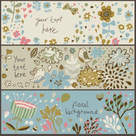 Illustration pour 3 superbes bannières florales en vecteur - image libre de droit